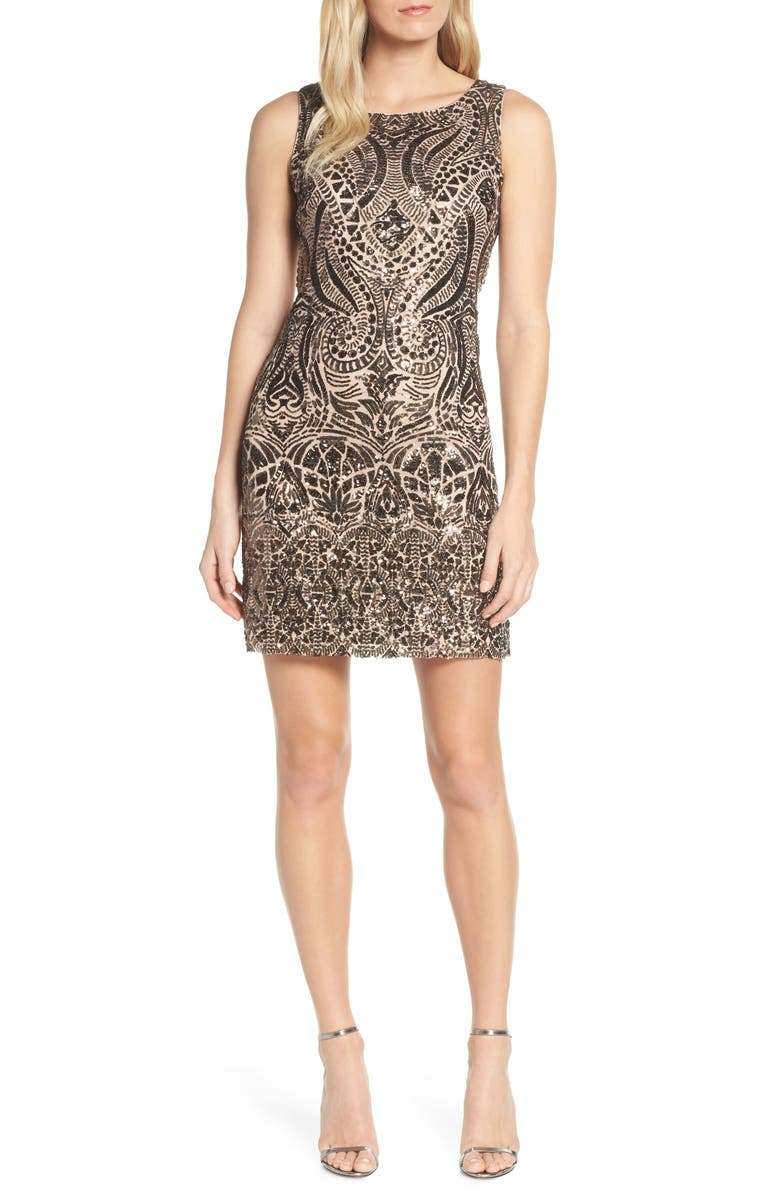VINCE CAMUTO Sequin Embellished Cocktail Minidress, Main, color, 220