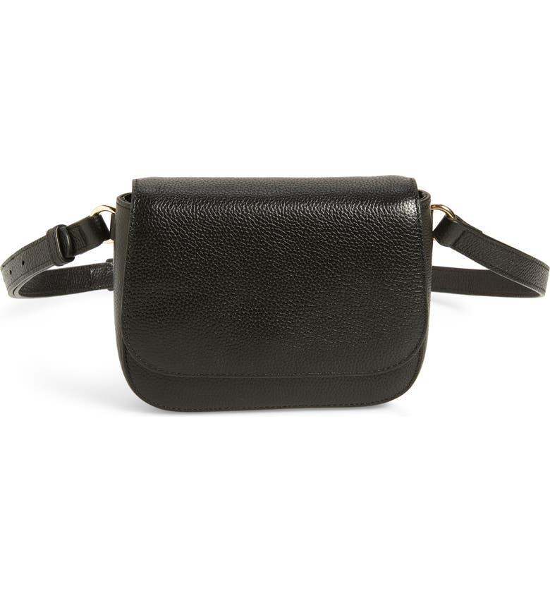 NORDSTROM Abigail Leather Belt Bag, Main, color, BLACK
