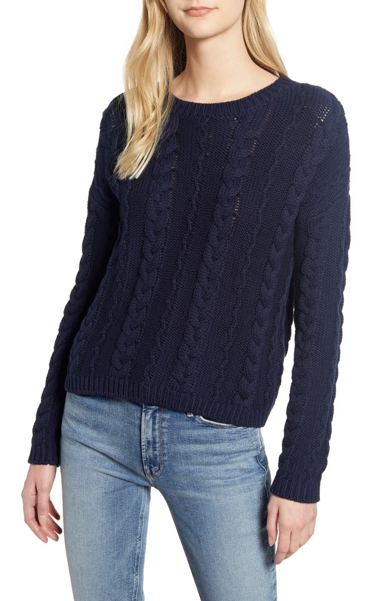 VELVET BY GRAHAM & SPENCER Cable Cotton Sweater, Main, color, 418