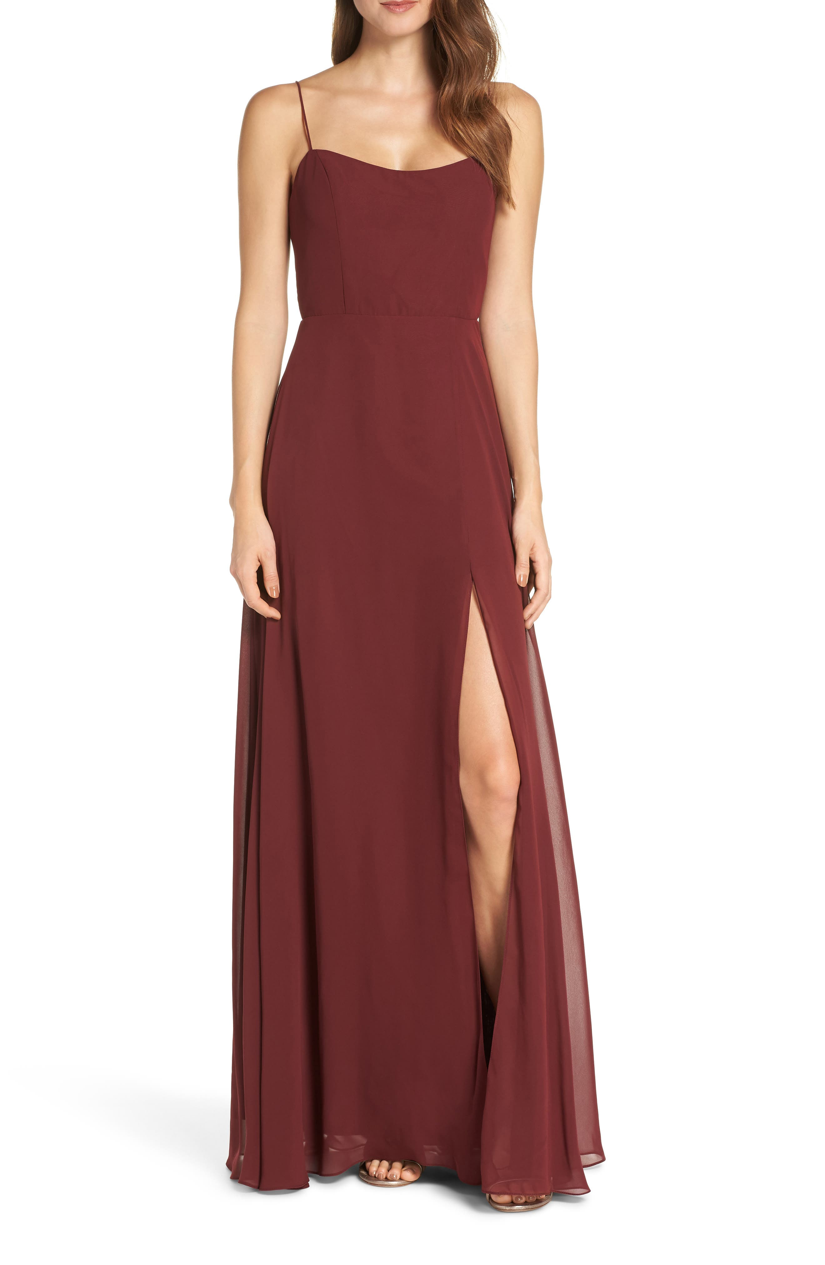 Jenny Yoo Kiara Bow Back Chiffon Evening Dress, Red