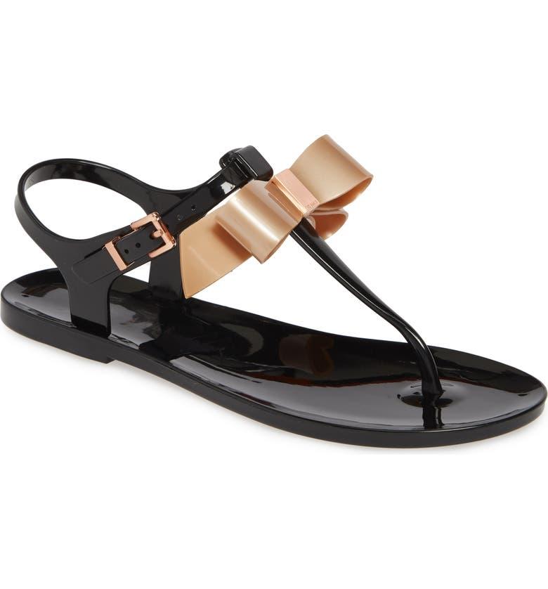 TED BAKER LONDON Teiya T-Strap Bow Sandal, Main, color, BLACK