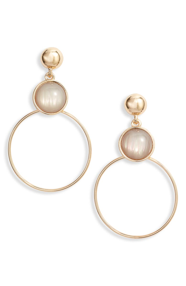 HALOGEN<SUP>®</SUP> Iridescent Stone Hoop Earrings, Main, color, GREY- GOLD