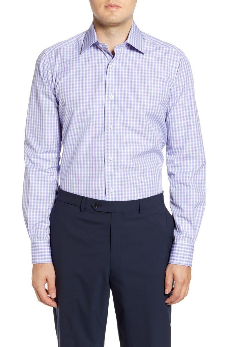 DAVID DONAHUE Trim Fit Plaid Dress Shirt, Main, color, MERLOT/ SKY