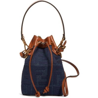 Fendi Mini Mon Tresor Logo Denim Bucket Bag - Blue