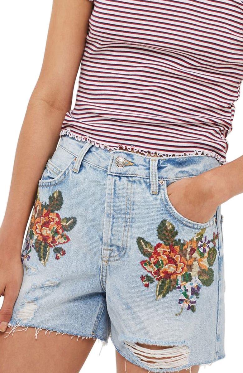 TOPSHOP Ashley Cross Stitch Vintage Floral Denim Shorts, Main, color, 420