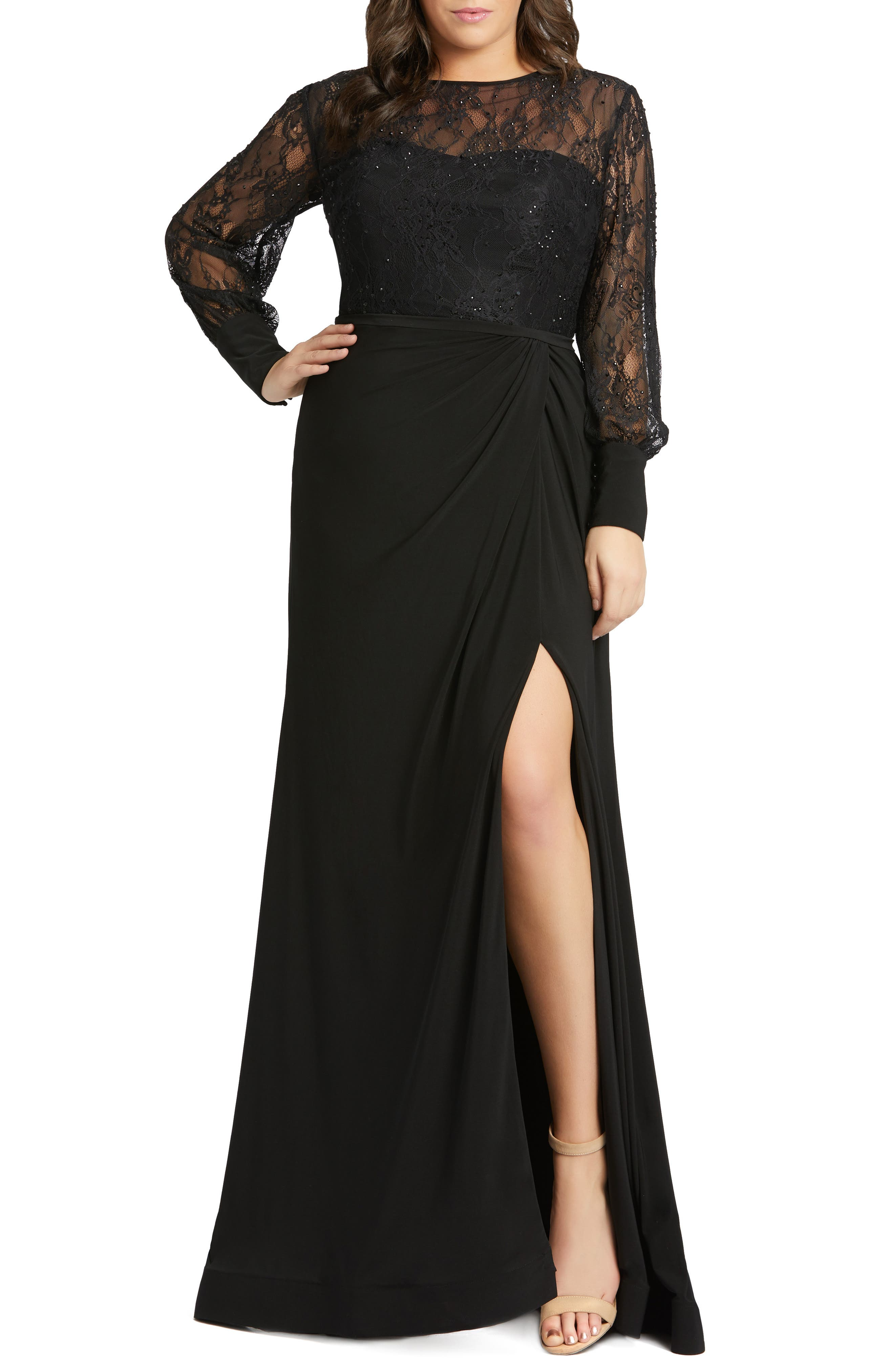 1930s Evening Dresses | Old Hollywood Dress Plus Size Womens MAC Duggal Long Sleeve Lace Illusion Gown $398.00 AT vintagedancer.com