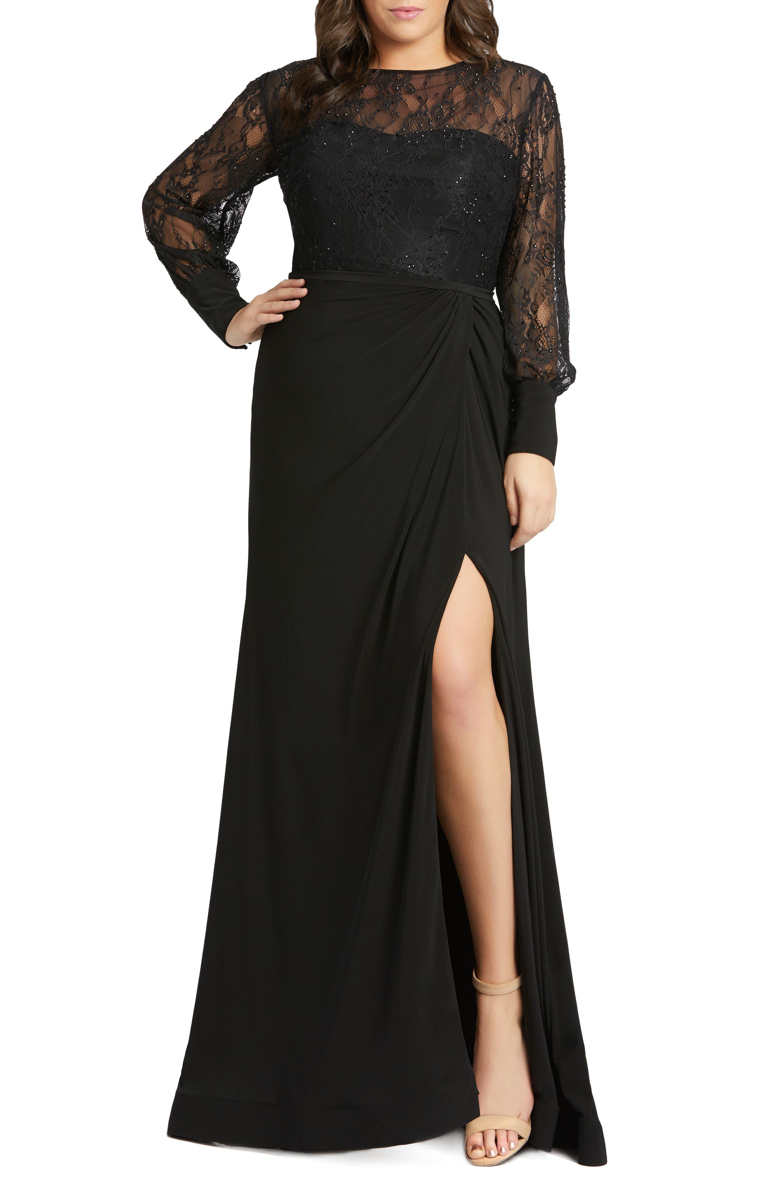 Plus Size Vintage Dresses, Plus Size Retro Dresses Plus Size Womens MAC Duggal Long Sleeve Lace Illusion Gown $398.00 AT vintagedancer.com