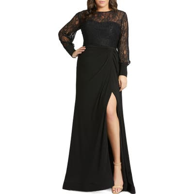 Plus Size MAC Duggal Long Sleeve Lace Illusion Gown, Black