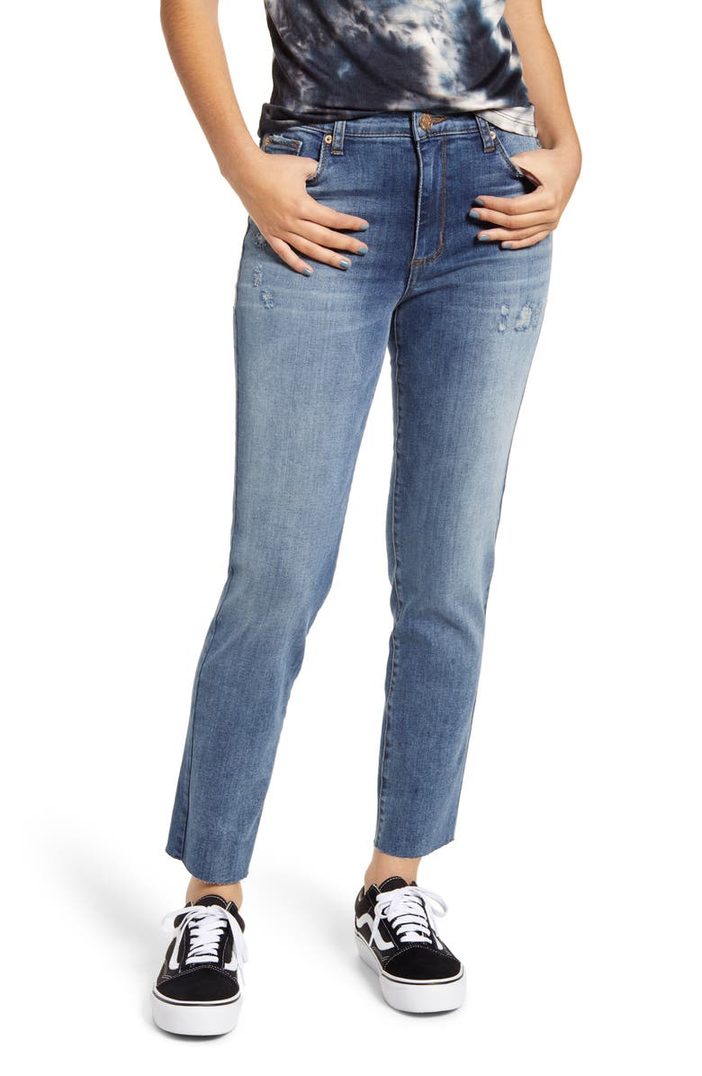STS BLUE Caroline High Waist Distressed Ankle Straight Leg Jeans, Main, color, 400
