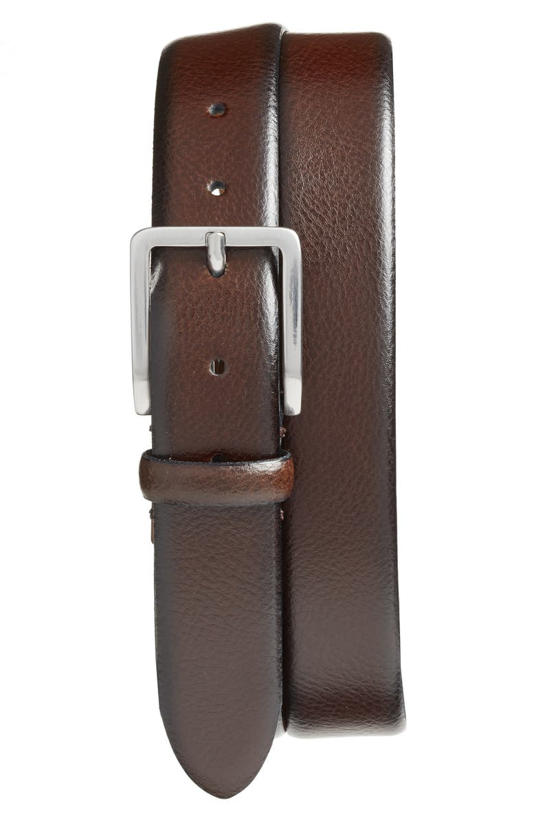 JOHNSTON & MURPHY Leather Belt, Main, color, BROWN