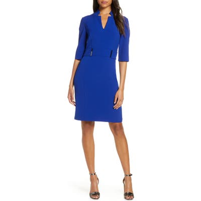 Tahari Inverted Notch Collar Stretch Crepe Sheath Dress, Blue