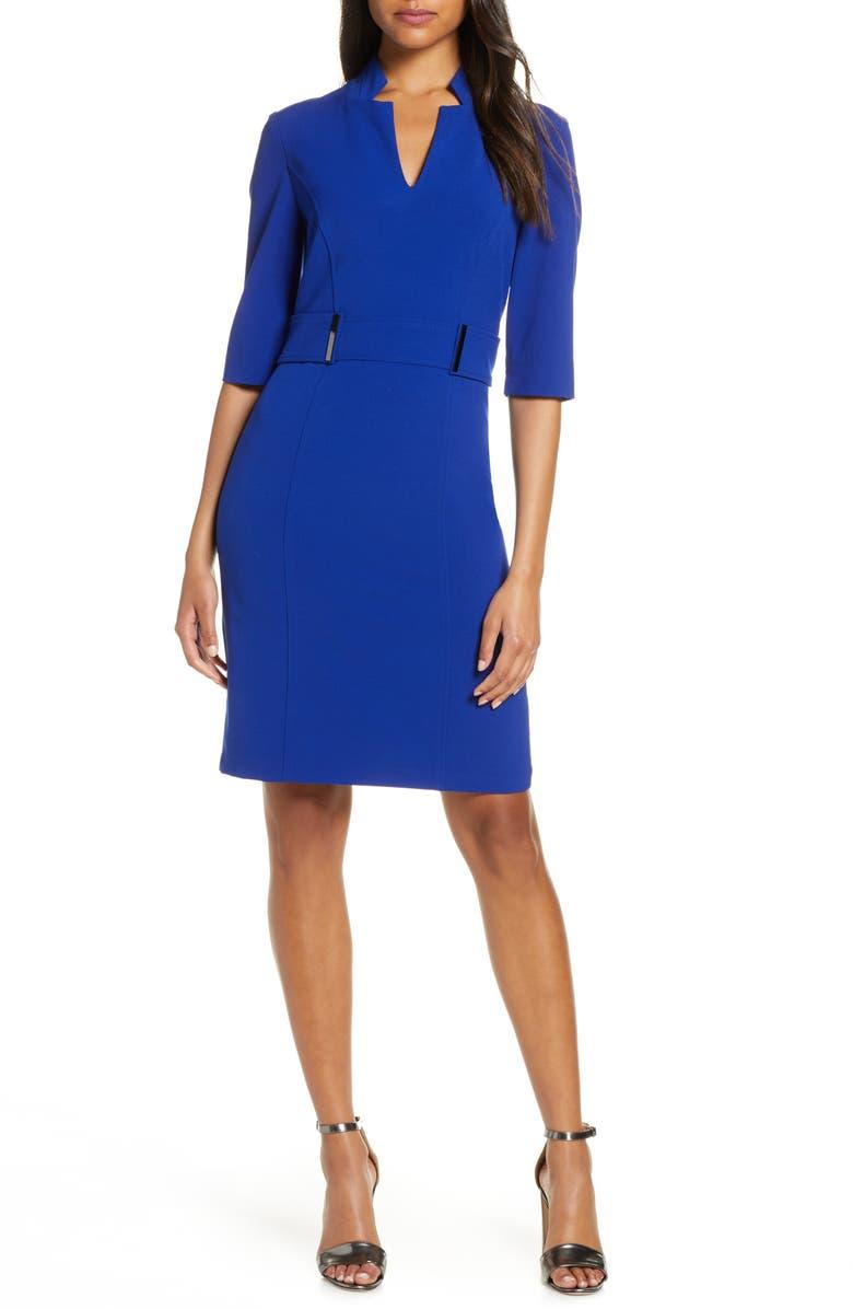 Inverted Notch Collar Stretch Crepe Sheath Dress