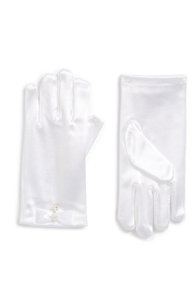 LAUREN MARIE Rhinestone Cross Satin Gloves, Main, color, WHITE
