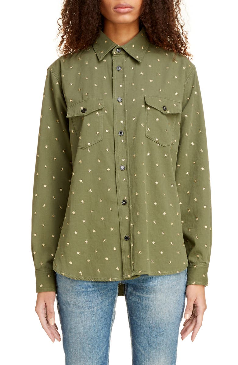 SAINT LAURENT Western Star Embroidered Shirt, Main, color, KHAKI STONEWASH