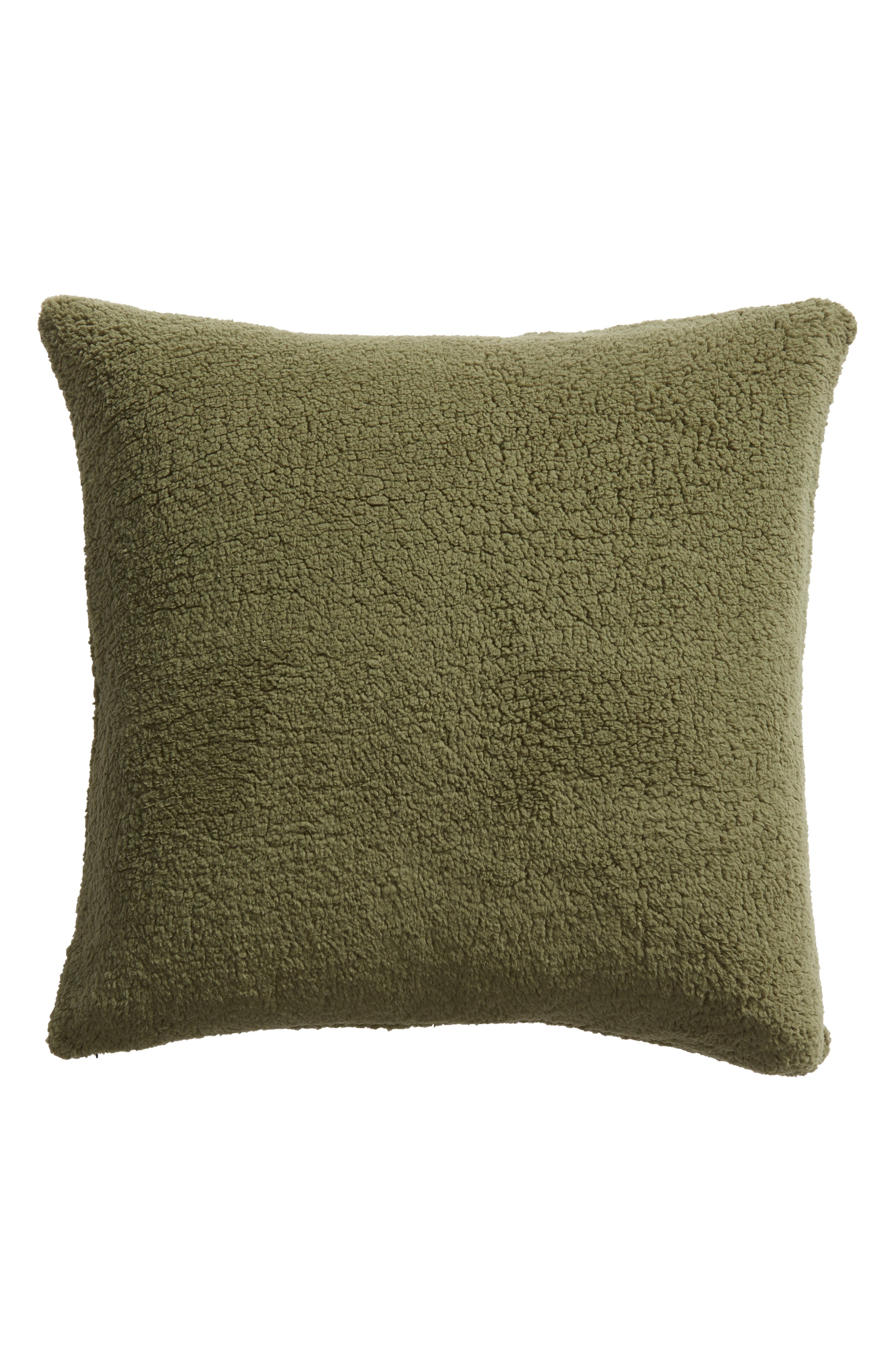 Faux Shearling Accent Pillow, Main, color, GREEN SORREL
