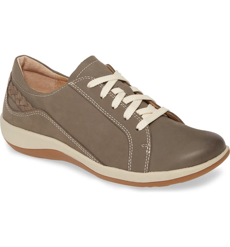 AETREX Dana Lace-Up Oxford Flat, Main, color, WARM GREY LEATHER