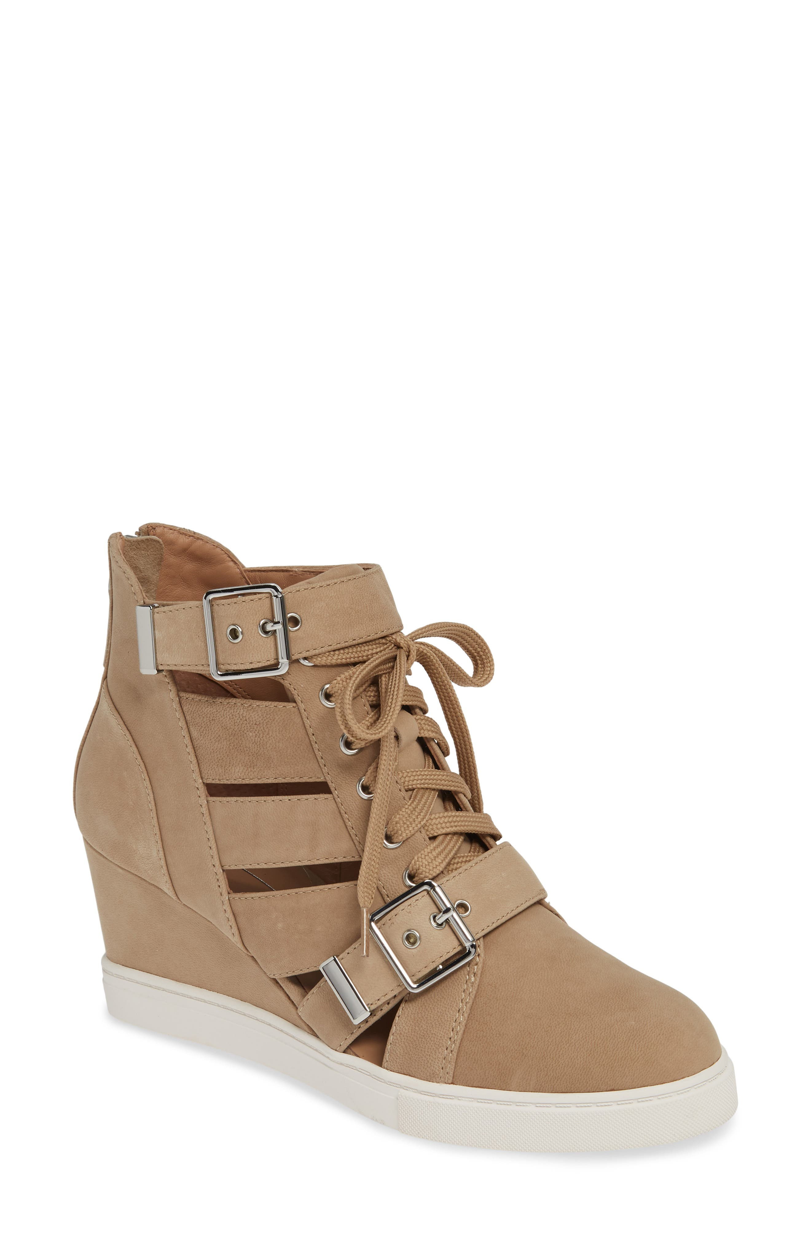 Linea Paolo Fave Cutout Wedge Sneaker, Beige