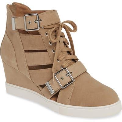 Linea Paolo Fave Cutout Wedge Sneaker, Beige