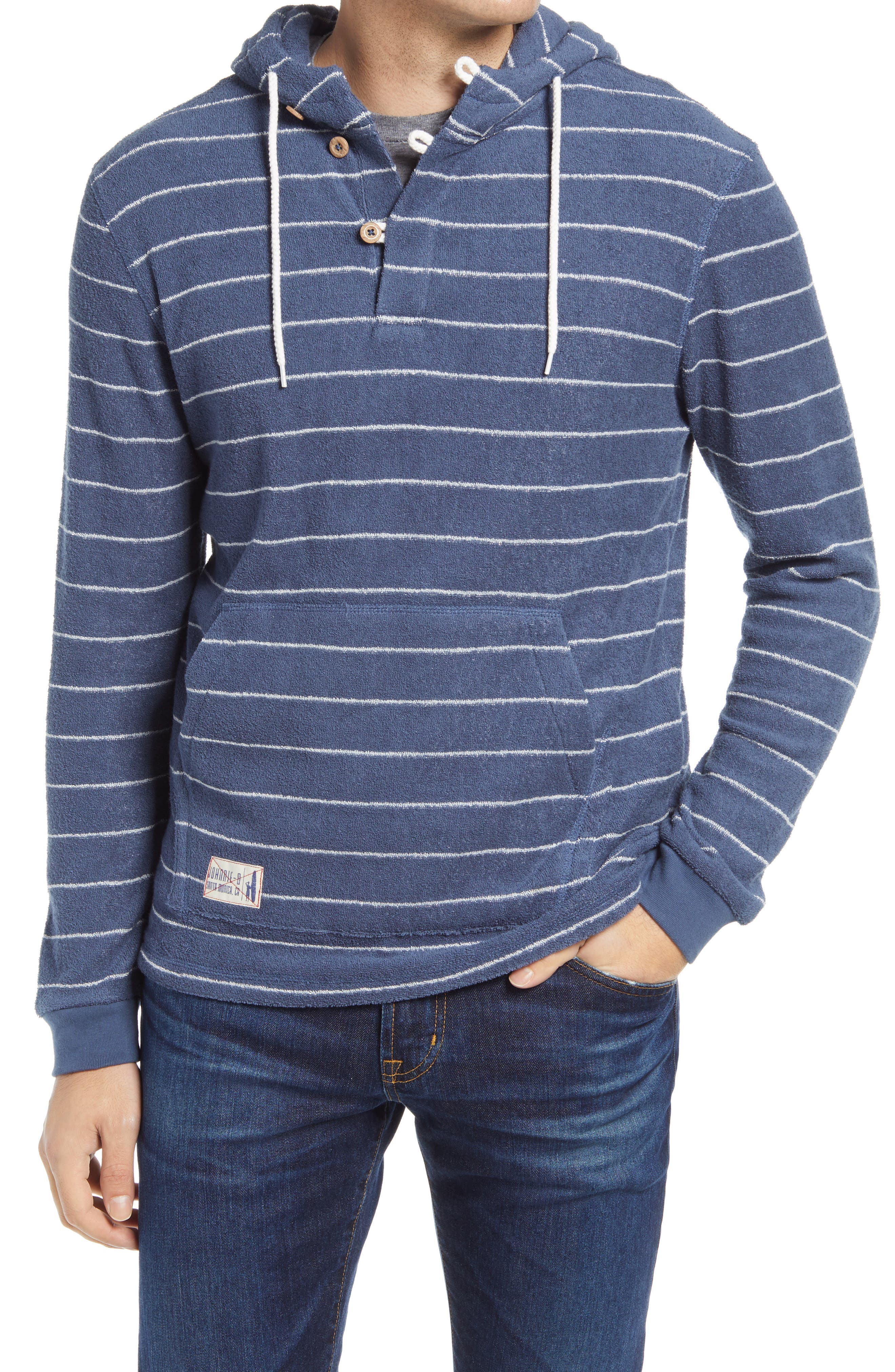 Men's Outboard Stripe Terry Pullover Hoodie