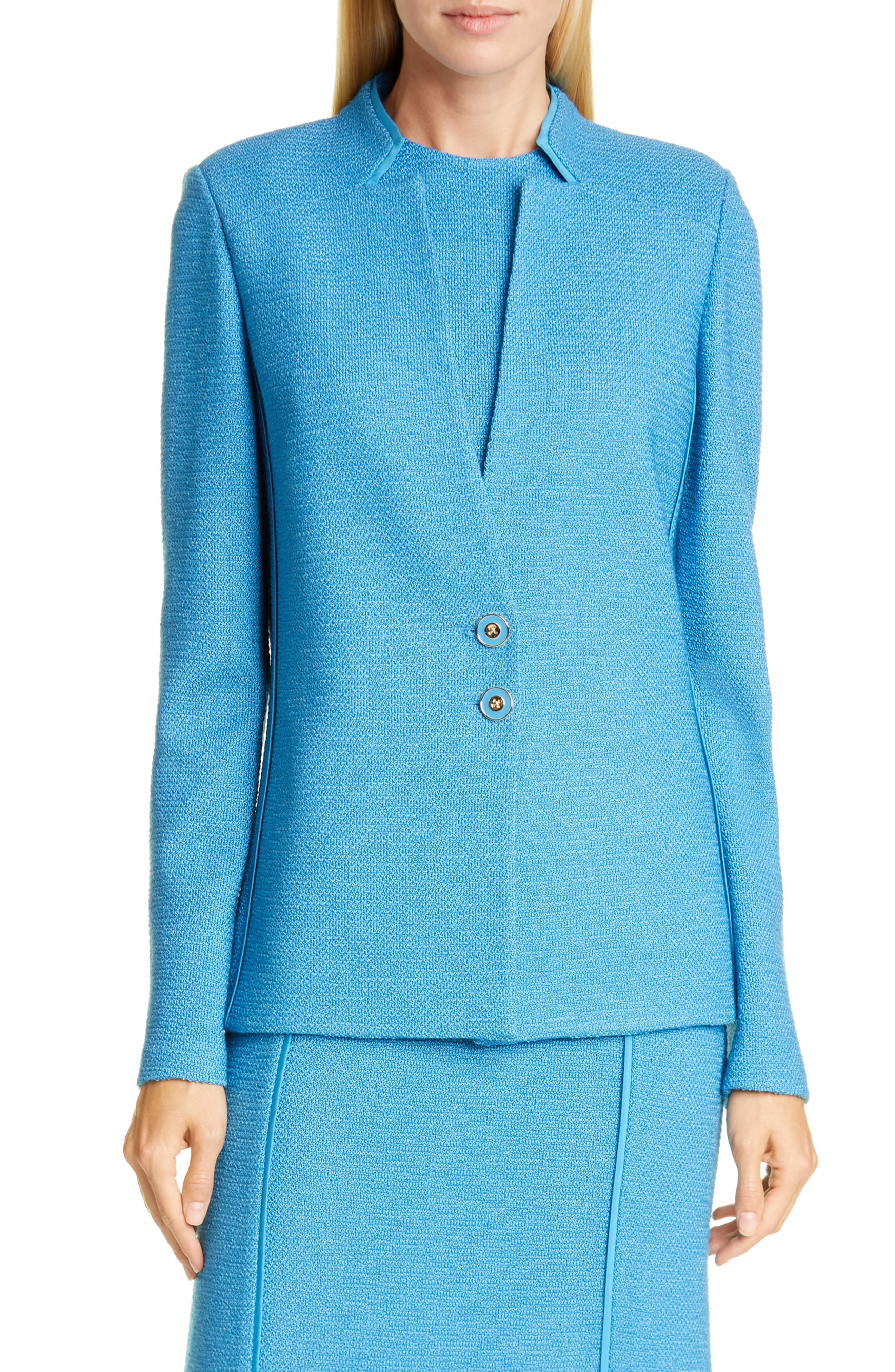 Image of St. John Collection Pebbled Textured Knit Inverted Wool Blend Jacket