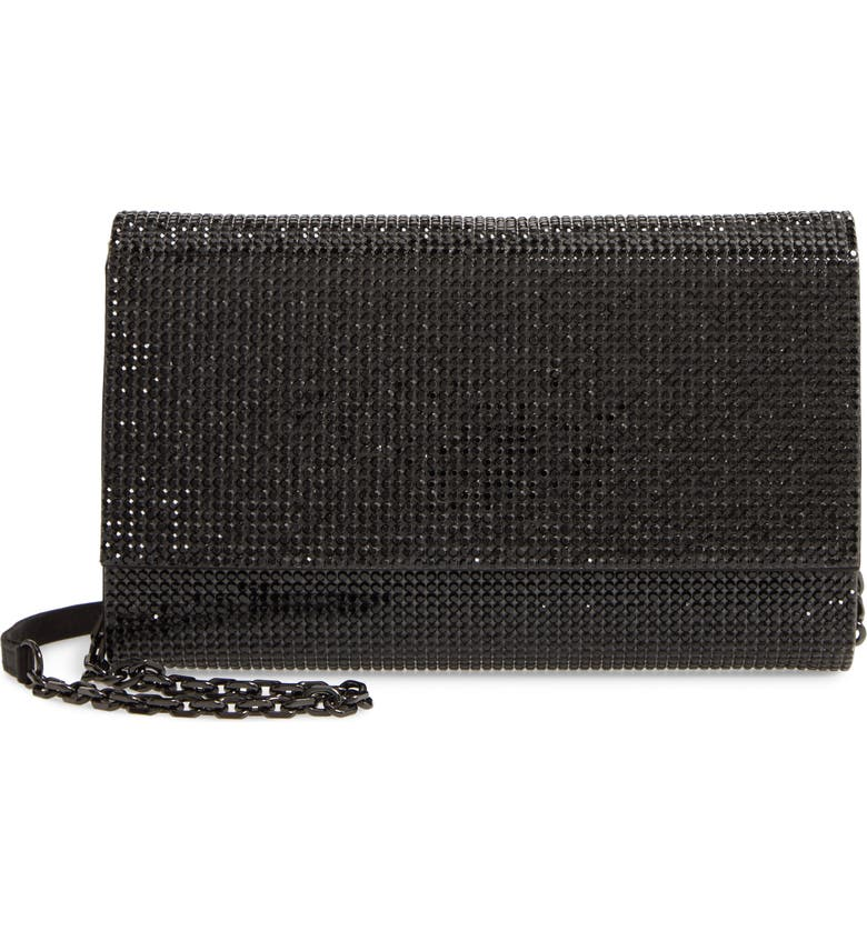 JUDITH LEIBER Couture Fizzoni Beaded Clutch, Main, color, NERO JET