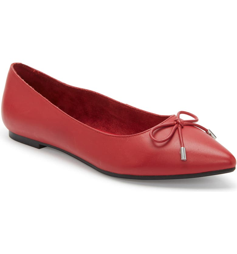 ME TOO Alisia Pointy Toe Flat, Main, color, RED LIPS LEATHER
