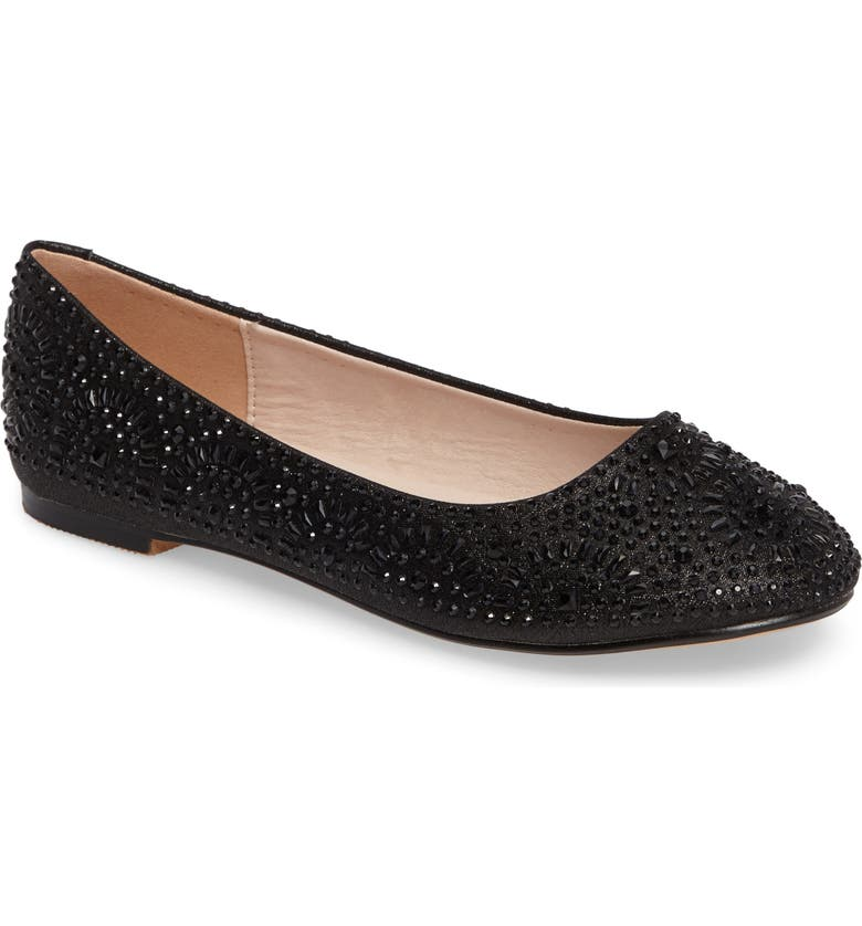 LAUREN LORRAINE Brooke Crystal Embellished Ballet Flat, Main, color, 001