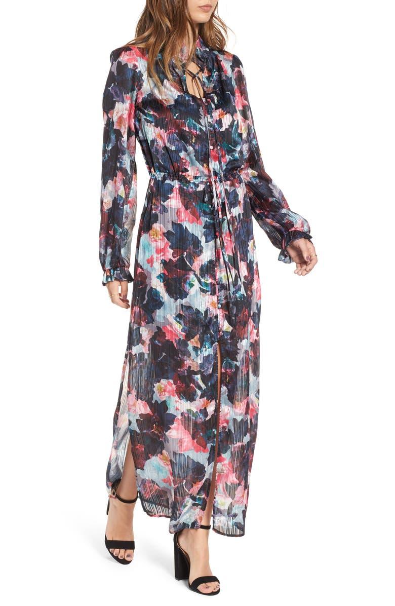 LOVE, FIRE Floral Print Maxi Dress, Main, color, 001