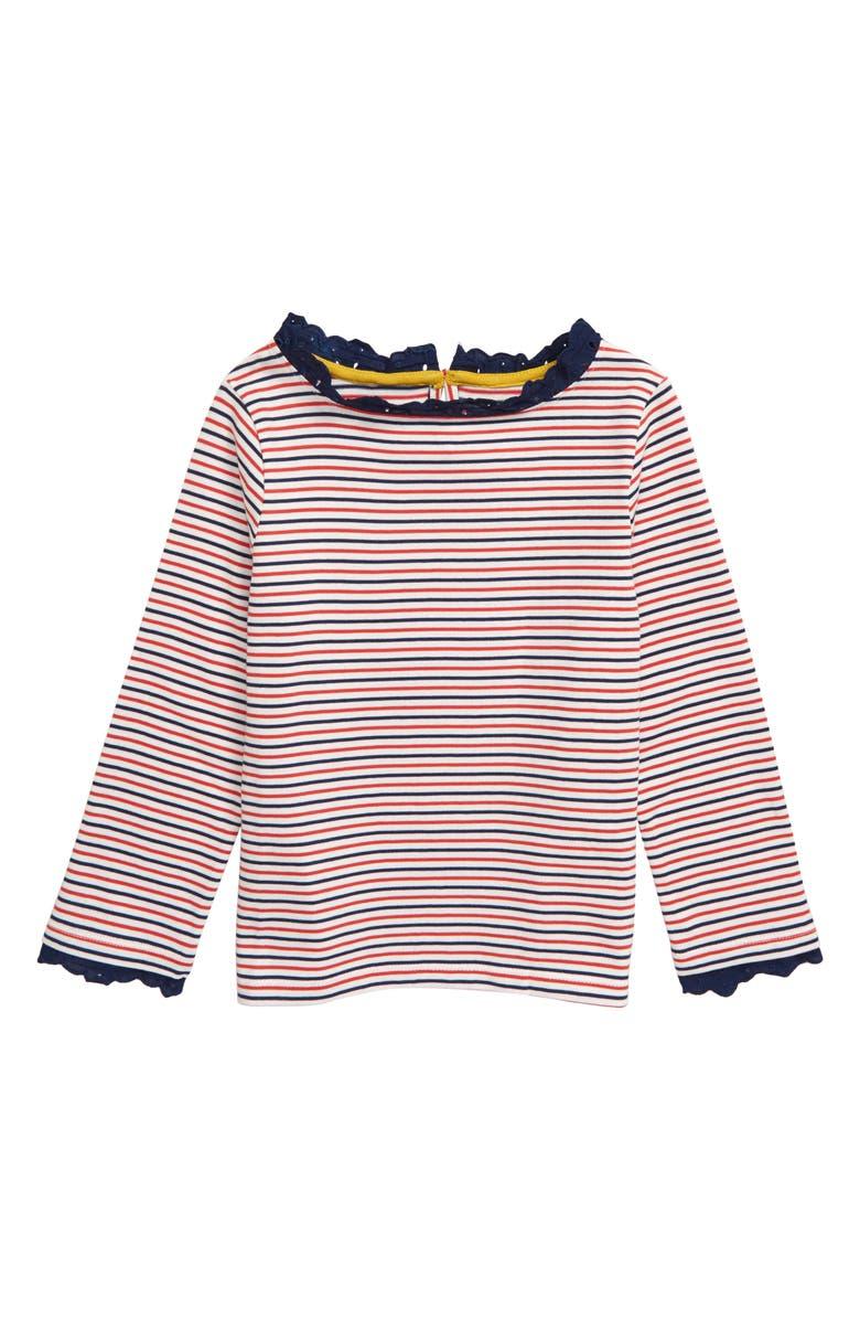 MINI BODEN Fun Breton Shirt, Main, color, BLU IVORY/ COLLEGE BLUE SMILE