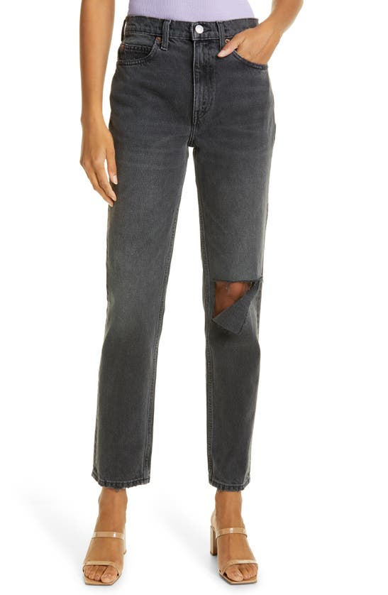 Re/done '70S HIGH WAIST DISTRESSED STRAIGHT LEG JEANS