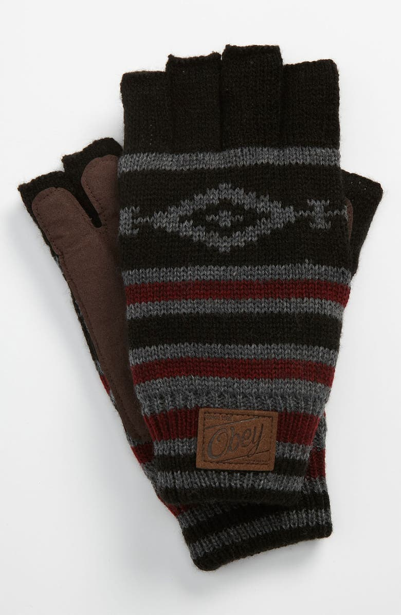 OBEY 'Aztec' Fingerless Gloves, Main, color, 028