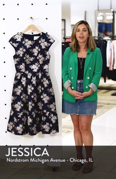 Jenny Wallpaper Rose Jacquard Fit & Flare Dress, sales video thumbnail