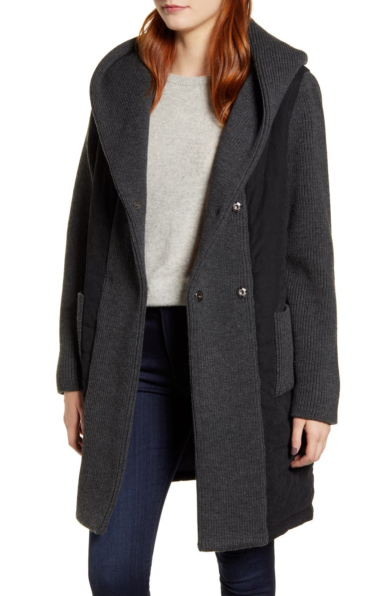 KRISTEN BLAKE Quilted & Knit Contrast Coat, Main, color, BLK/ CHAR