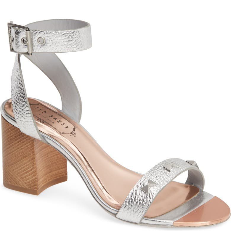 TED BAKER LONDON Biah Ankle Strap Sandal, Main, color, SILVER LEATHER