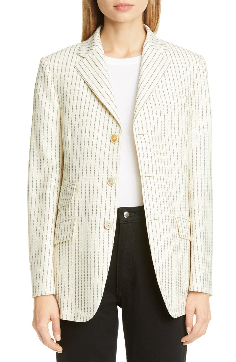 MAISON MARGIELA Logo Pinstripe Wool Blend Blazer, Main, color, 900