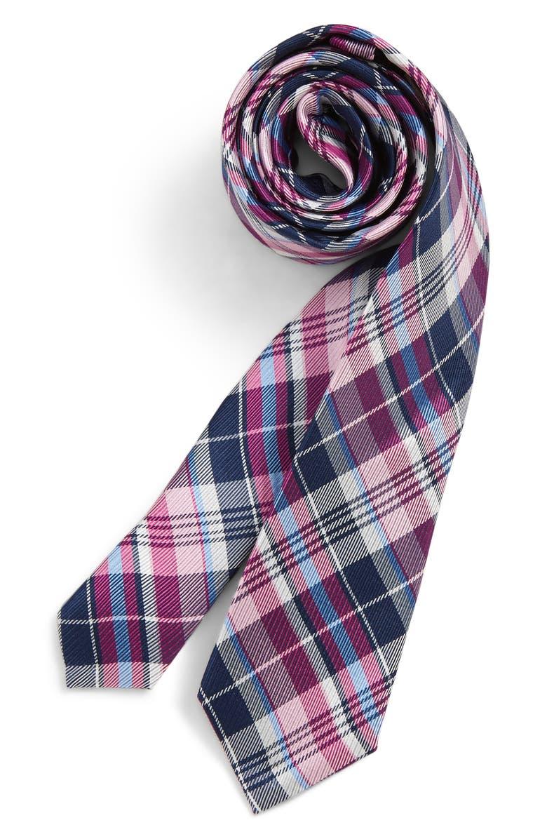 MICHAEL KORS Plaid Silk Tie, Main, color, 656