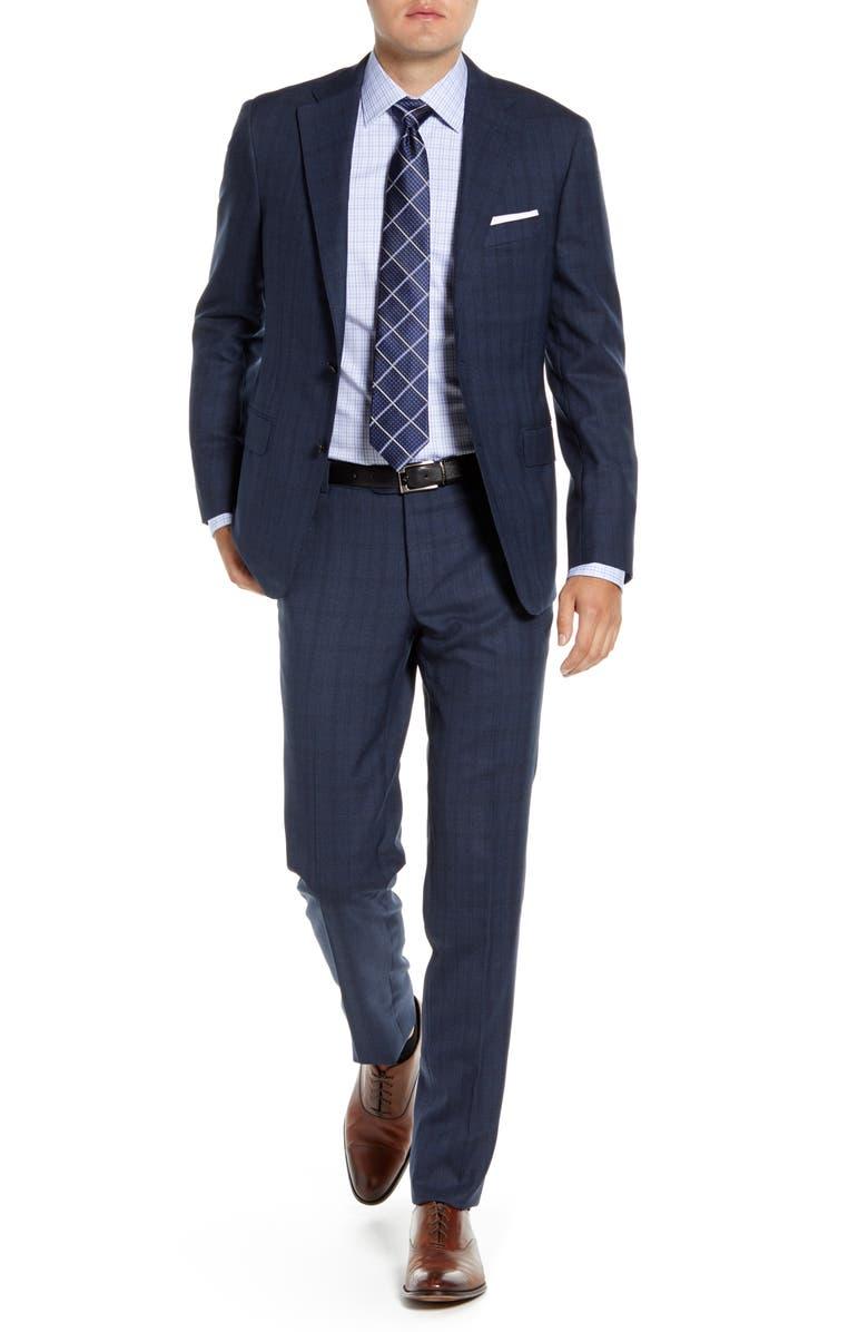 HICKEY FREEMAN Modern H Fit Plaid Wool Suit, Main, color, MEDIUM BLUE