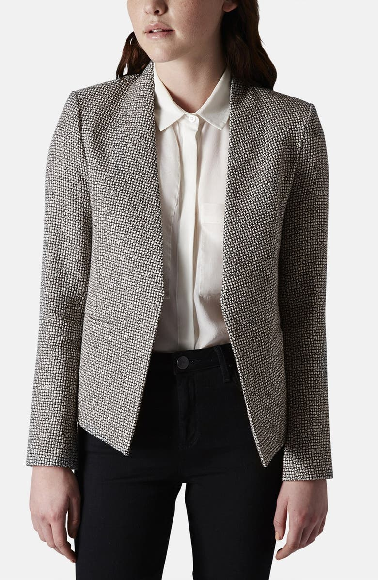 TOPSHOP Collarless Bouclé Jacket, Main, color, 002
