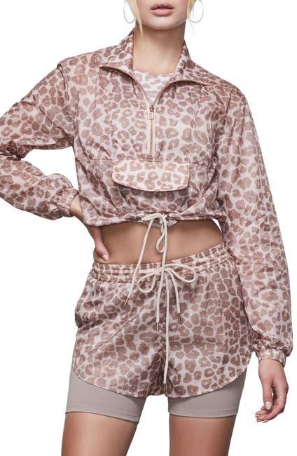 Image of Good American Leopard Print Sheer Half Zip Crop Pullover