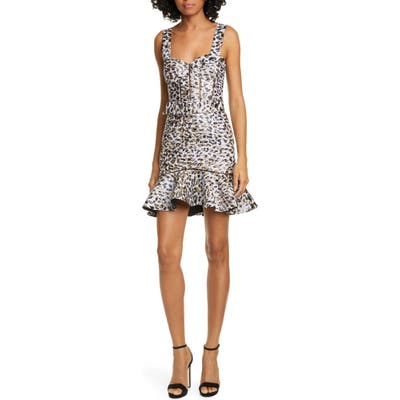 Jonathan Simkhai Leopard Lame Bustier Cocktail Dress, Purple