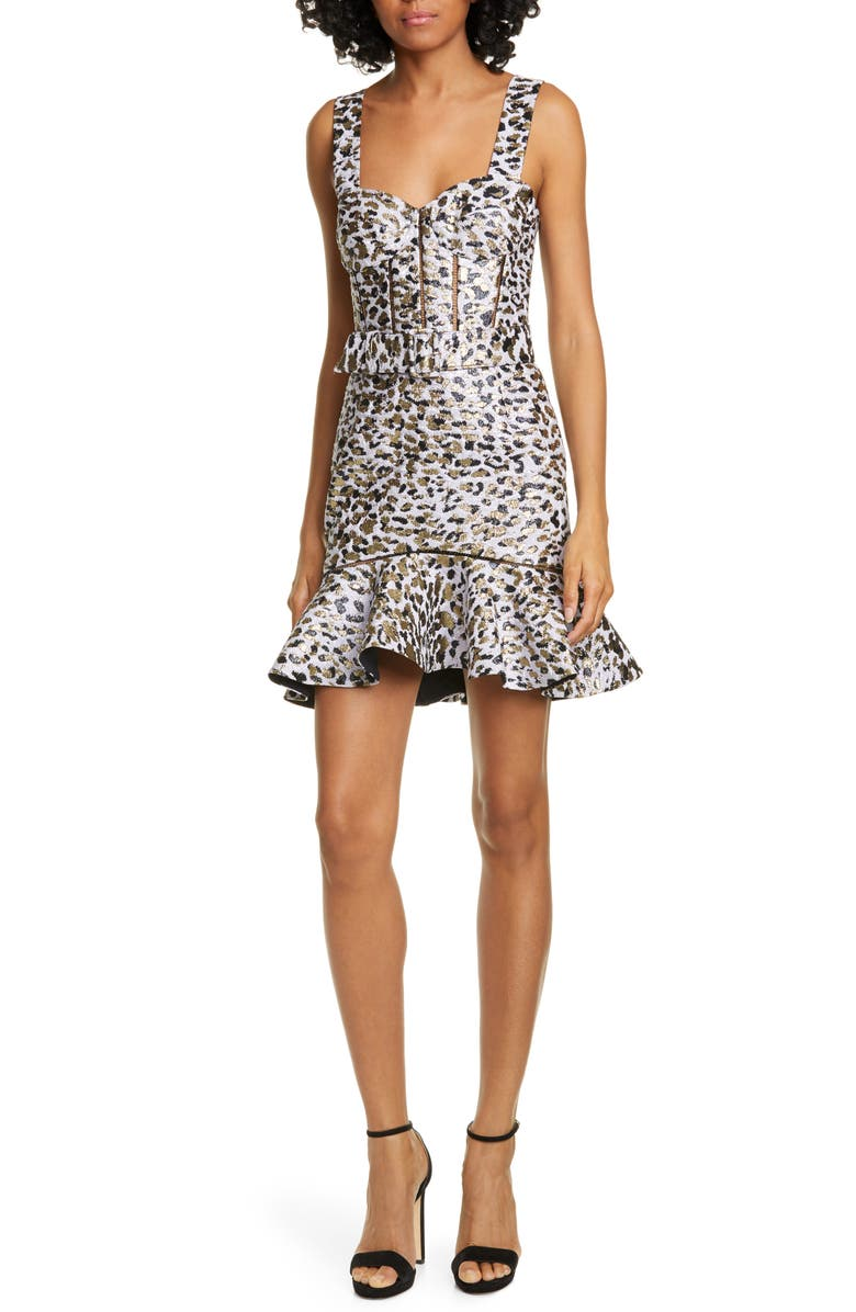 JONATHAN SIMKHAI Leopard Lamé Bustier Cocktail Dress, Main, color, LILAC