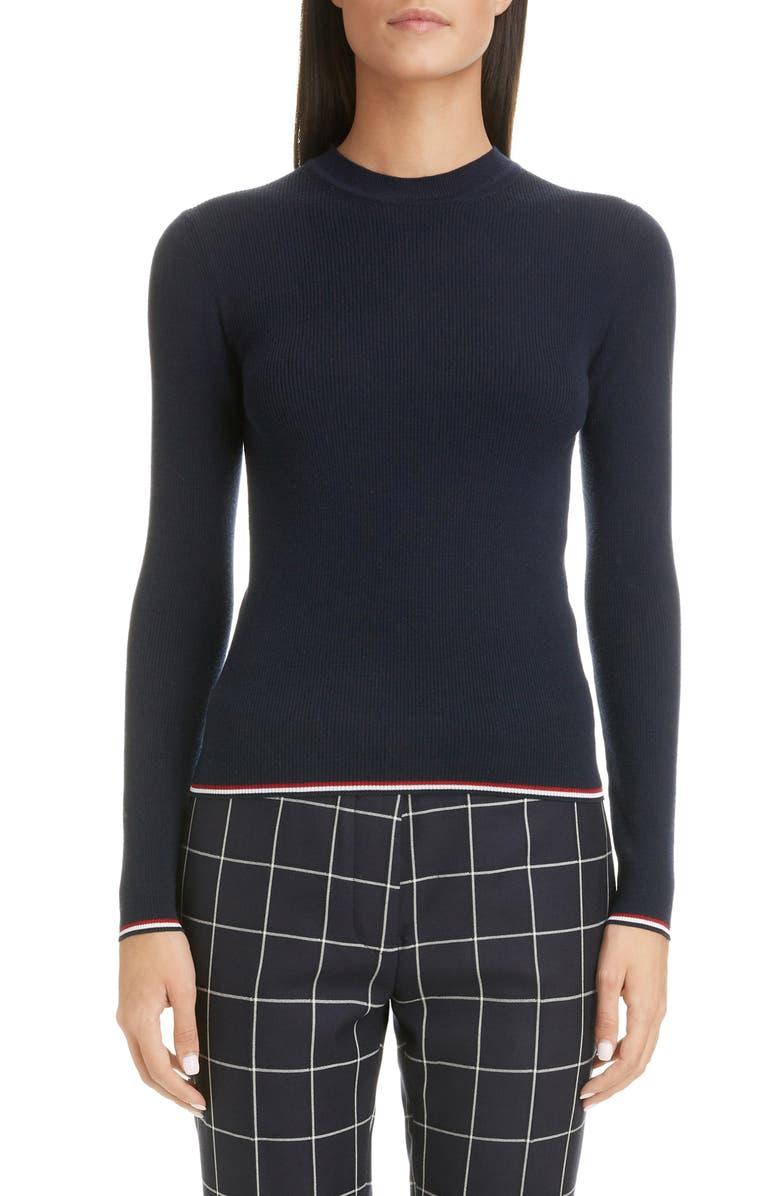 THOM BROWNE Rib Wool Blend Sweater, Main, color, NAVY