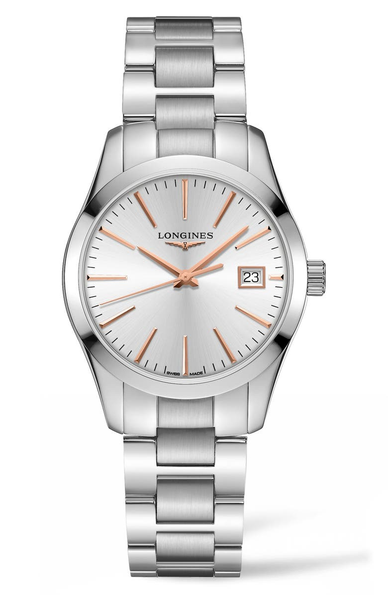 LONGINES Conquest Classic Bracelet Watch, 34mm, Main, color, 040