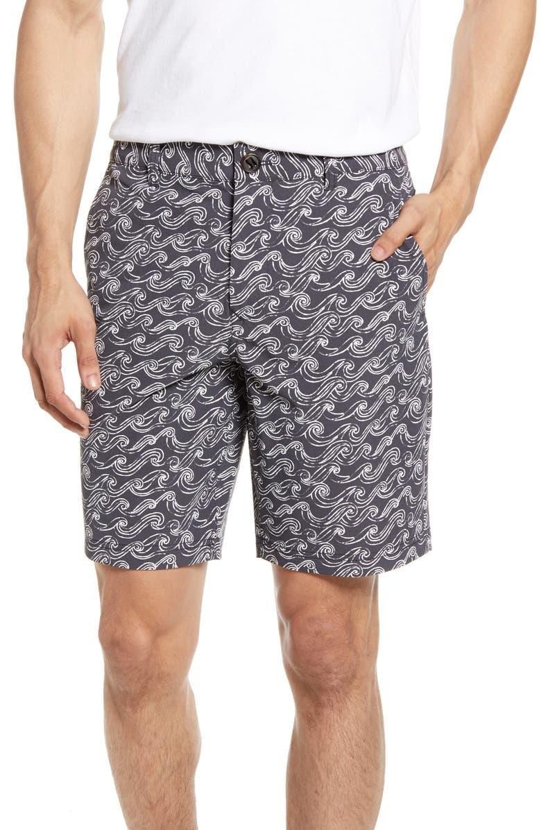 BONOBOS Wave Print Chino 9-Inch Shorts, Main, color, SKETCH WAVE