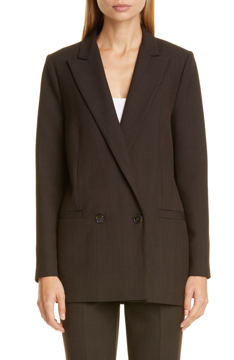 GANNI Check Suiting Blazer, Main, color, MOLE