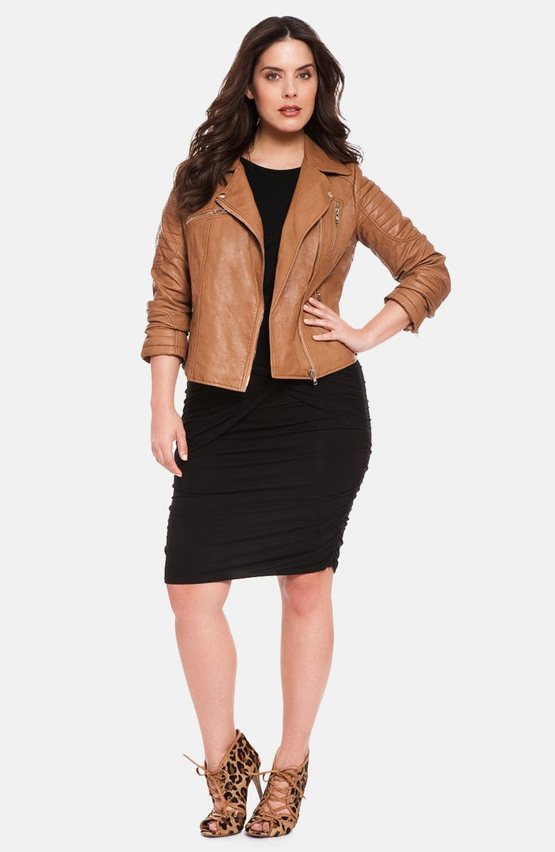 ELOQUII Quilted Faux Leather Moto Jacket, Main, color, 249