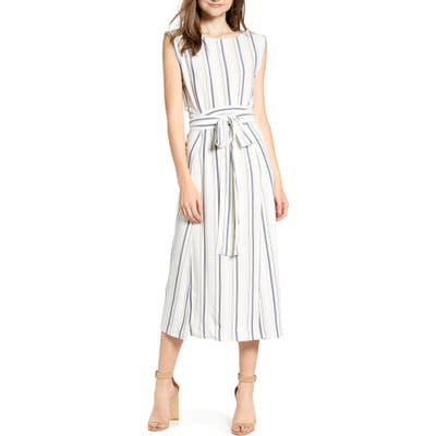 Cupcakes And Cashmere Sleeveless Striped Midi Dress, Ivory