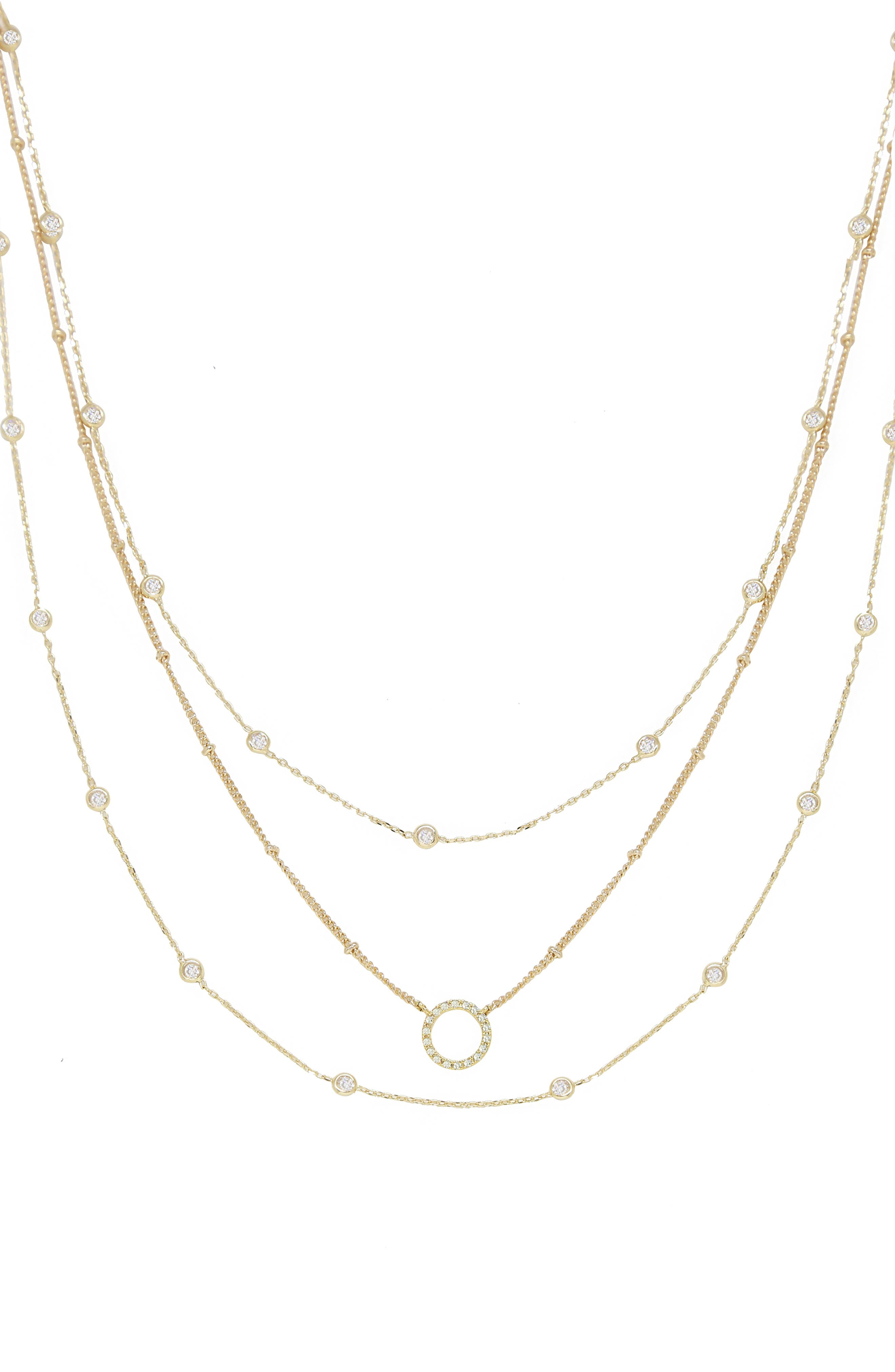 Triple Crystal Chain Necklace