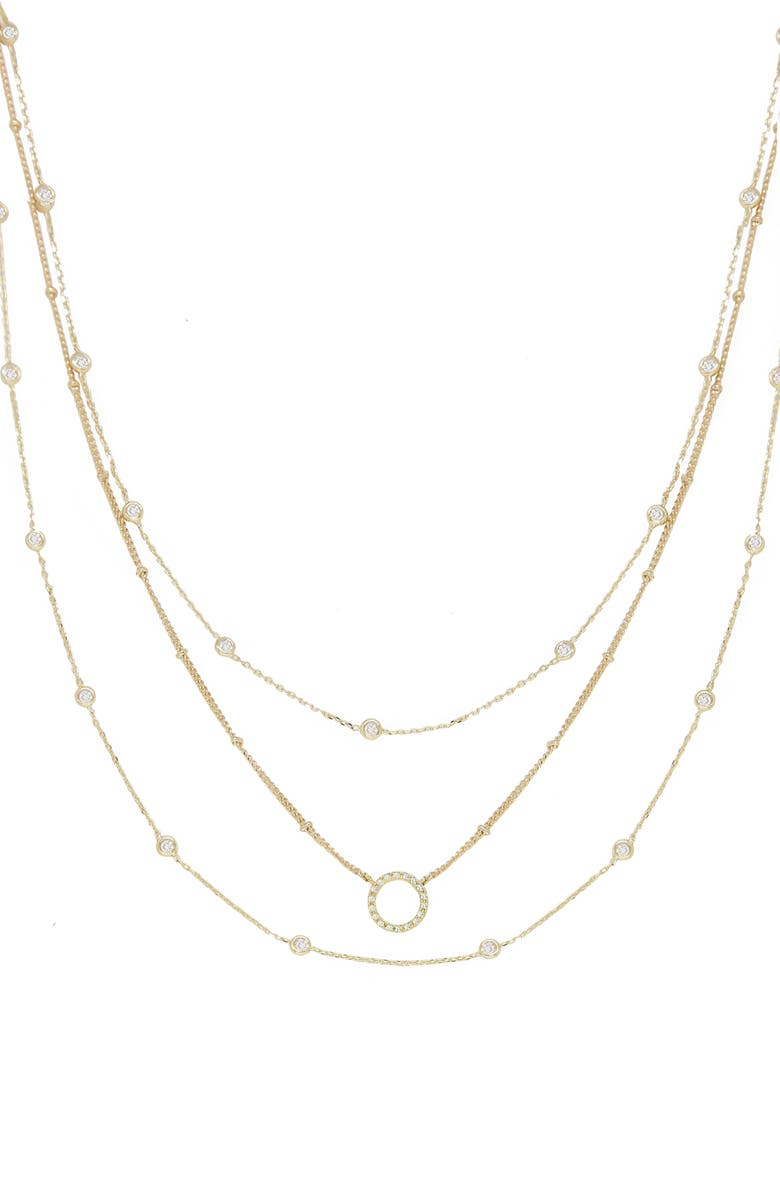 ETTIKA Triple Crystal Chain Necklace, Main, color, GOLD