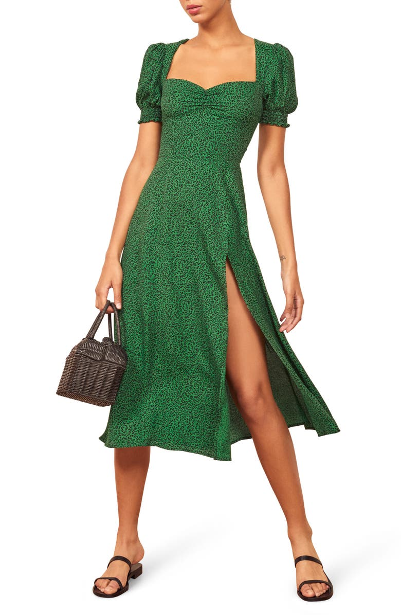 REFORMATION Lacey Smocked Sleeve Dress, Main, color, JITTERBUG